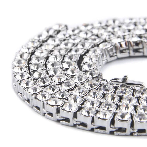 18K White Gold Plated Classic Tennis Chain