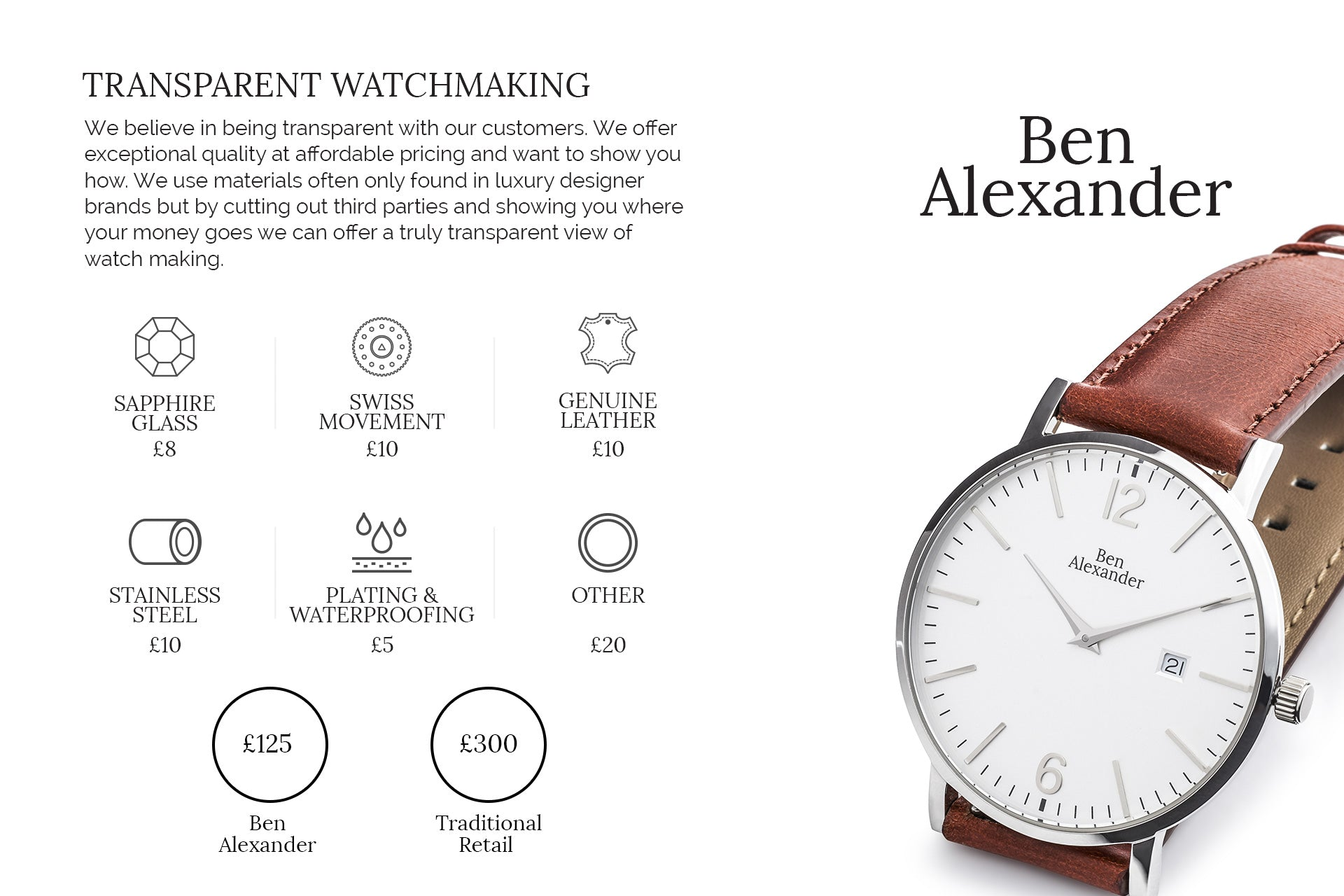 7a80fc42361 We created Ben Alexander to make timepieces that could last a generation.  We use the highest quality materials and offer some of the best value  watches in ...