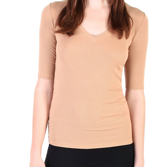 Modal Short Sleeve V Neck Tee - Camel, Yoga Top - Meditation Essentials
