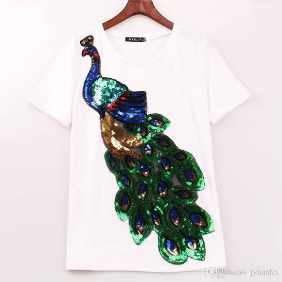 Women Peacock Sequined T-shirt, Yoga Top - Meditation Essentials