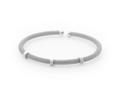 .925 Sterling Silver Diamond Bangle Mesh Bracelet, Jewelry - Meditation Essentials