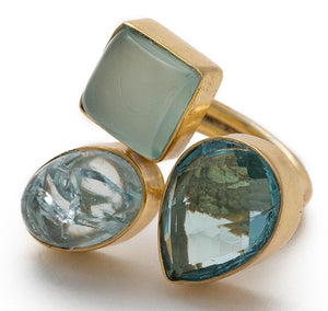 Gold-overlay Chalcedony, Snake Skin & Jasper Ring,  - Meditation Essentials