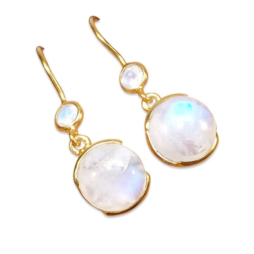 Gold-overlay Sterling Silver Rainbow Moonstone, Jewelry - Meditation Essentials