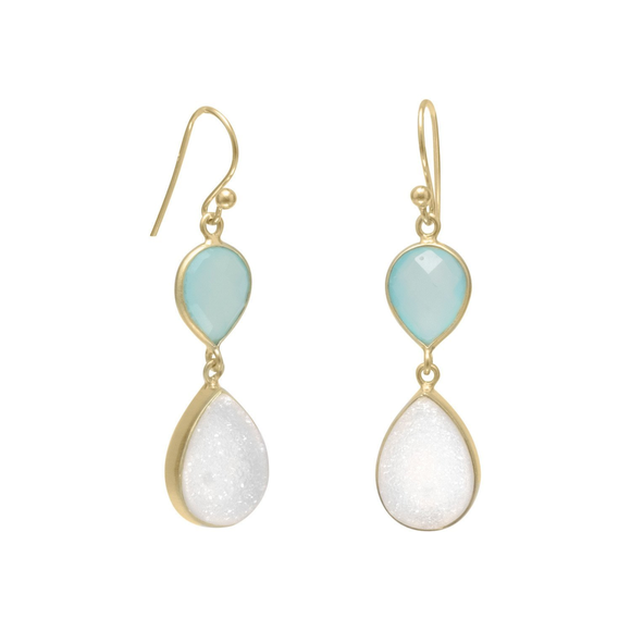 14K Gold Plated Earrings with Green Chalcedony and Druzy, Jewelry - Meditation Essentials