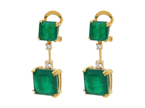 Art Deco Emerald Doublet Silhouette Drop Earrings