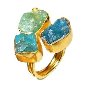 Gold-overlay Apatite & Aqua Ring,  - Meditation Essentials