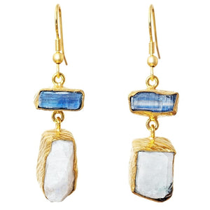 Gold-overlay Rainbow Moonstone & Kyanite Earrings, Jewelry - Meditation Essentials