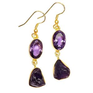 Gold-overlay Amethyst Earrings, Jewelry - Meditation Essentials