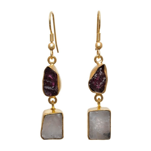 Gold-overlay Garnet & Rainbow Moonstone Earrings, Jewelry - Meditation Essentials