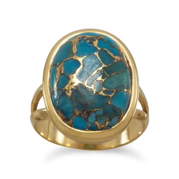 14 Karat Gold Plated Stabilized Turquoise Ring, Jewelry - Meditation Essentials