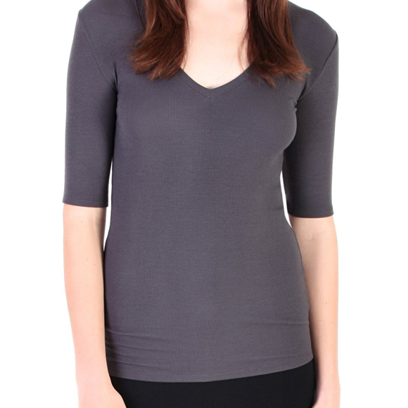 Modal Short Sleeve V Neck Tee - Gray, Yoga Top - Meditation Essentials
