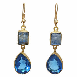 Gold-overlay Kyanite & Blue Glass Earrings, Jewelry - Meditation Essentials