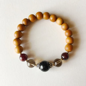 Root Chakra Bracelet ~ Sandalwood, Garnet, Smokey, Jewelry - Meditation Essentials