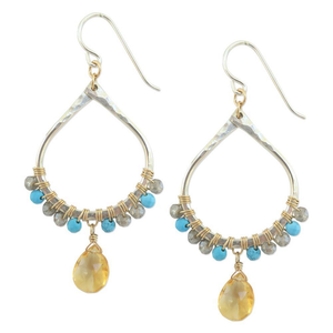 Audrey Earrings in Turquoise / Citrine, Jewelry - Meditation Essentials