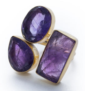 Gold-overlay Amethyst Ring, Jewelry - Meditation Essentials