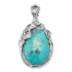 Oval Reconstituted Turquoise Pendant, Jewelry - Meditation Essentials