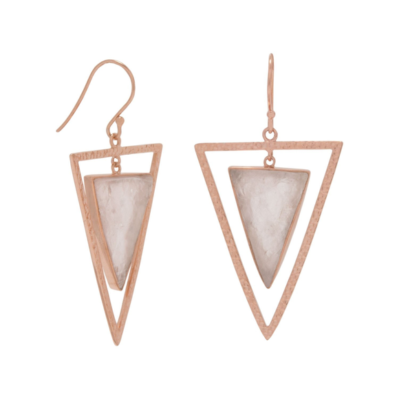 14 Karat Rose Gold Plated Rose Quartz Triangle Earrings, Jewelry - Meditation Essentials