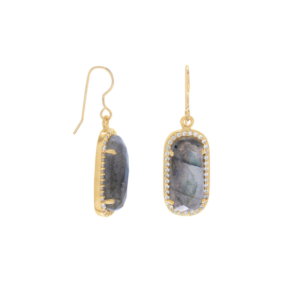 14 Karat Gold Plated Labradorite with CZ Edge Earrings, Jewelry - Meditation Essentials