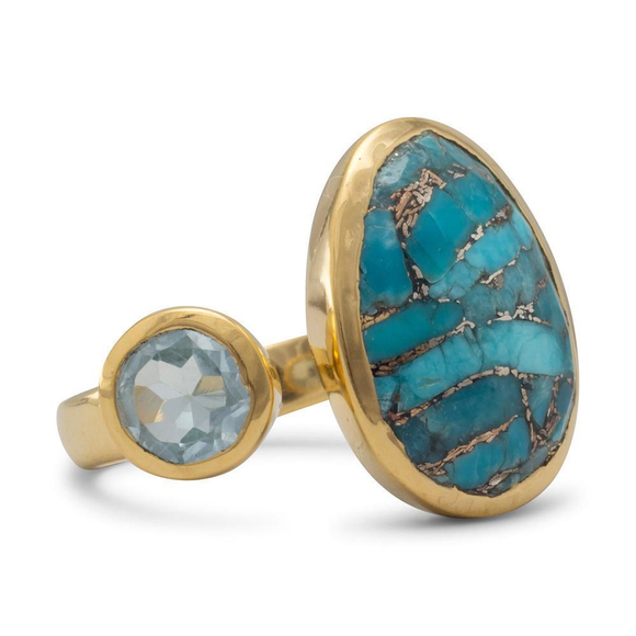 14 Karat Gold Plated Ring with Blue Topaz and Turquoise, Jewelry - Meditation Essentials