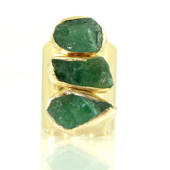 Exquisite Raw Emerald Ring in a Gold or Silver setting, Jewelry - Meditation Essentials