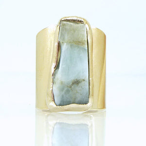 Raw Aquamarine Ring, In gold or silver, Unique & Hand Made, Jewelry - Meditation Essentials