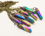 Raw Rainbow Titanium Quartz Necklace, Unique & Hand Made, Jewelry - Meditation Essentials