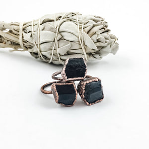 Raw Black Tourmaline Ring in 24k Gold, Unique & Hand Made, Jewelry - Meditation Essentials