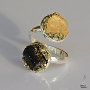 Raw Black Tourmaline Ring, Unique & Hand Made, Jewelry - Meditation Essentials