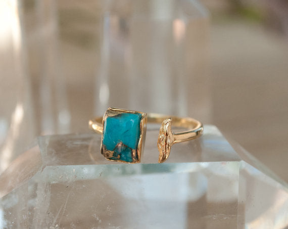 Turquoise Ring, copper mounting, , Unique & Hand Made, Jewelry - Meditation Essentials