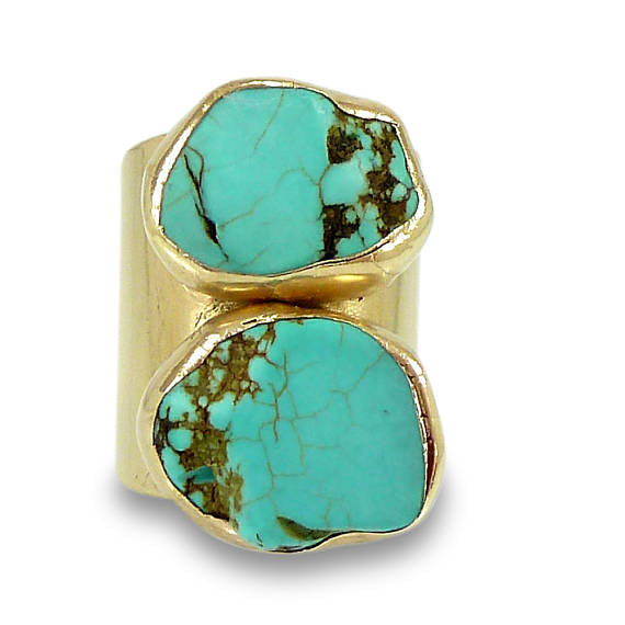 Raw Gold Turquoise Ring, , Unique & Hand Made, Jewelry - Meditation Essentials