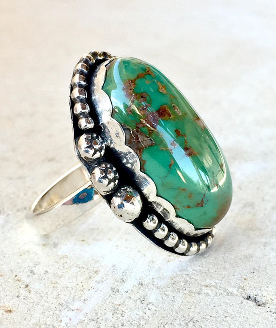 Turquoise Ring, Manassa Turquoise Silver Ring, Jewelry - Meditation Essentials