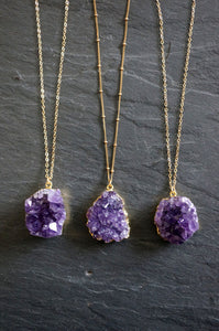 Amethyst Druzy Pendant in a Gold setting with Necklace, Jewelry - Meditation Essentials