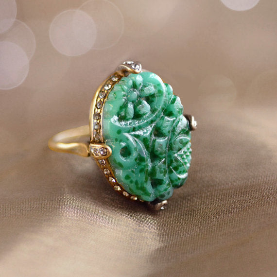 Vintage Jade Glass Ring, Art Deco, Unique & Hand Made, Jewelry - Meditation Essentials