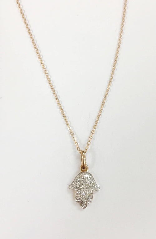 14k Rose Gold Diamond Hamsa Necklace
