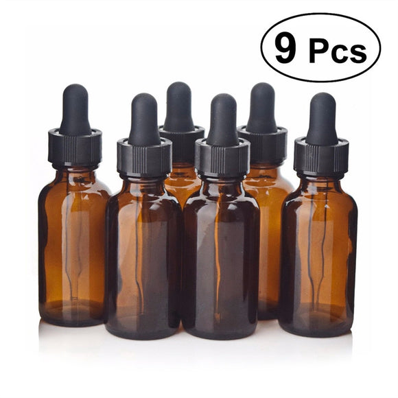 9 Pack 30 ml Refillable Empty Amber Bottle with Dropper and Cap, Essential Oil - Meditation Essentials