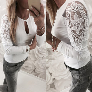 Fashion Womens Casual Lace Patchwork Crop O-Neck T-Shirt Blouse Tops White
