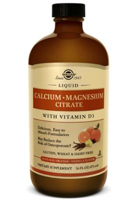 Liquid Calcium Magnesium Citrate with Vitamin D3 - Natural Orange-Vanilla Flavor
