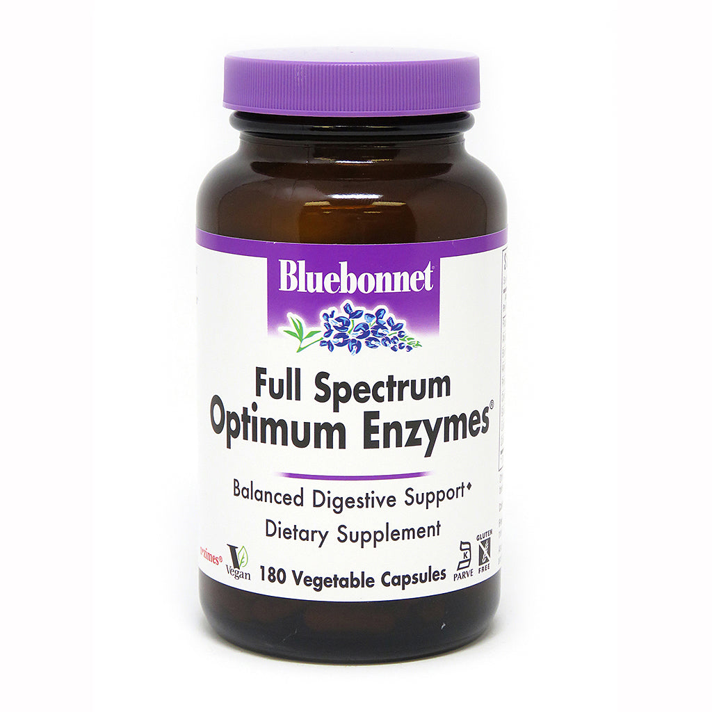 FULL SPECTRUM OPTIMUM ENZYMES® DIGESTIVE ENZYME 180 VEGETABLE CAPSULES