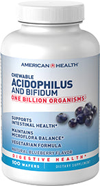 Chewable Acidophilus And Bifidum Natural Blueberry Wafers^