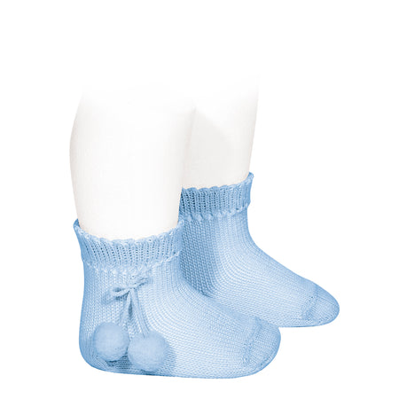 short socks with pompoms' <br> baby blue