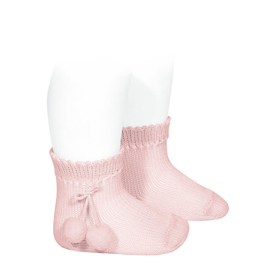 short socks with pompoms' <br> rose