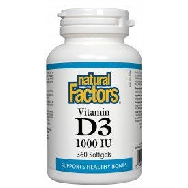 Natural Factors Vitamin D3 1000 IU 360 Softgels