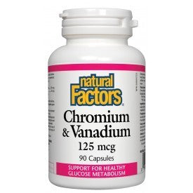 Natural Factors Chromium & Vanadium 125mcg 90 Caps