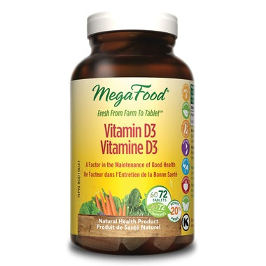 MegaFood Vitamin D3 1000IU 72 Tablets