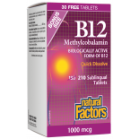 Natural Factors B12 Methylcobalamin 1000mcg 210 Tablets