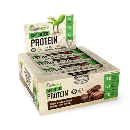Iron Vegan Sprouted Protein Bars Double Chocolate Brownie 12 x 64g