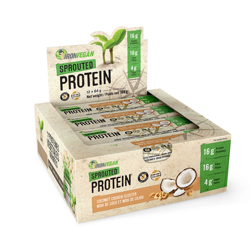 Iron Vegan Sprouted Protein Bars Coconut Cashew Cluster 12 x 64g