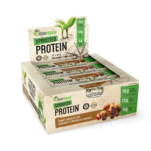 Iron Vegan Sprouted Protein Bars Peanut Chocolate Chip 12 x 64g