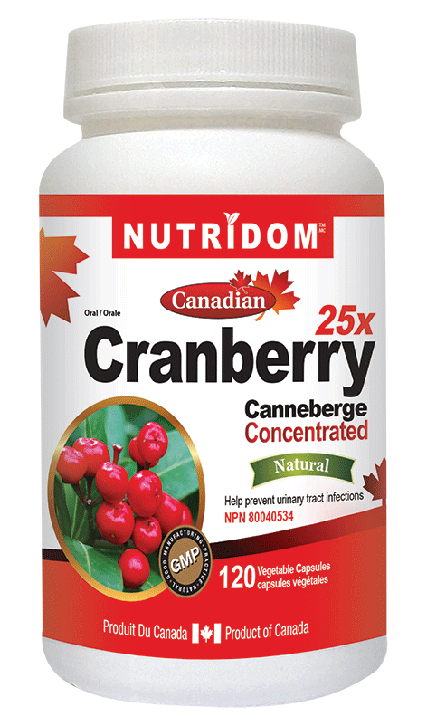 Nutridom Cranberry Conventrated 25X 120 v capsules