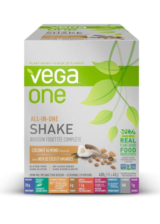 Vega One All In One Shake Coconut Almond Box of 10 Single Packs (10 servings)